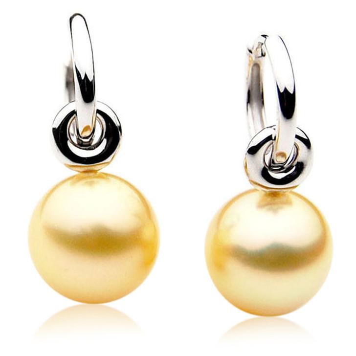 GE075 (AAA 13mm Australian Golden South Sea Pearl Earrings In Gold)