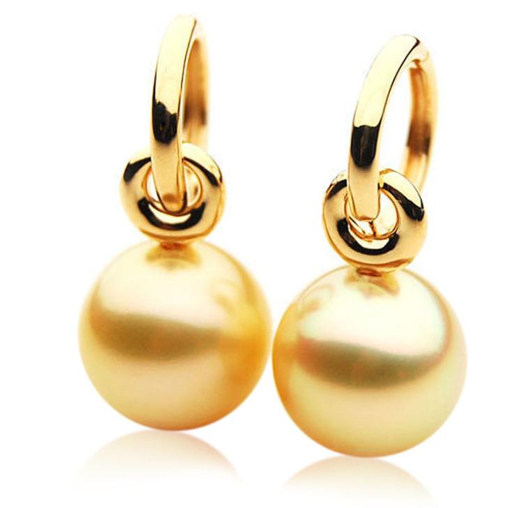 GE076 (AAA 13mm Australian Golden South Sea Pearl Earrings In Rose Gold)