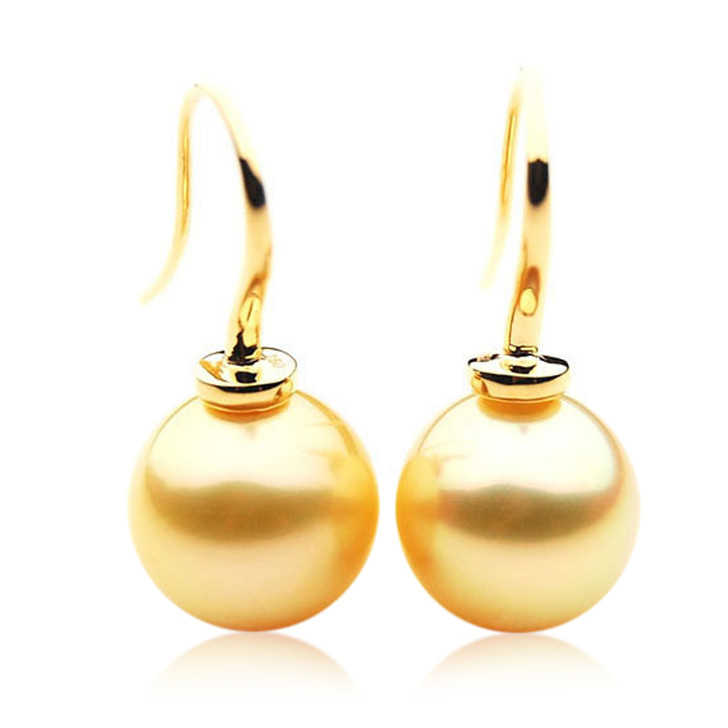 GE078 (AAA 13mm Australian Golden South Sea Pearl Earrings In Gold)