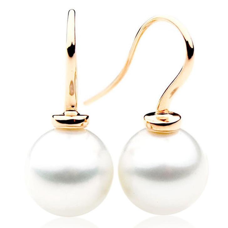 SE042  (AAA 12mm Australian South Sea Pearl Earrings in 18k Gold)