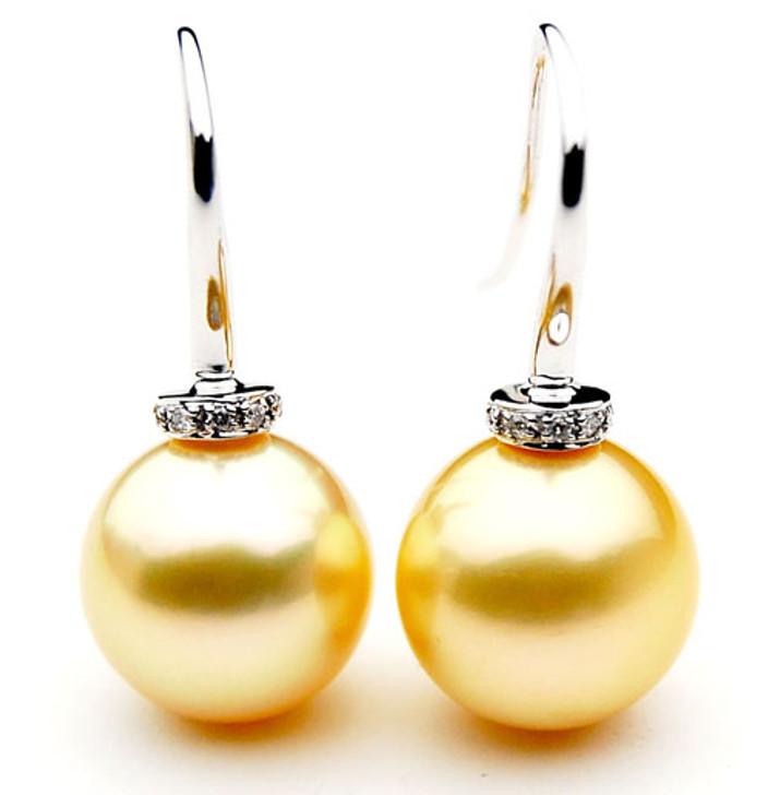 GE085 (AAA 13mm Australian Golden South Sea Pearl Earrings and Diamond )