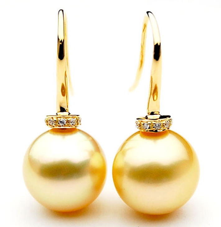 GE086 (AAA 13mm Australian Golden South Sea Pearl Earrings and Diamond)