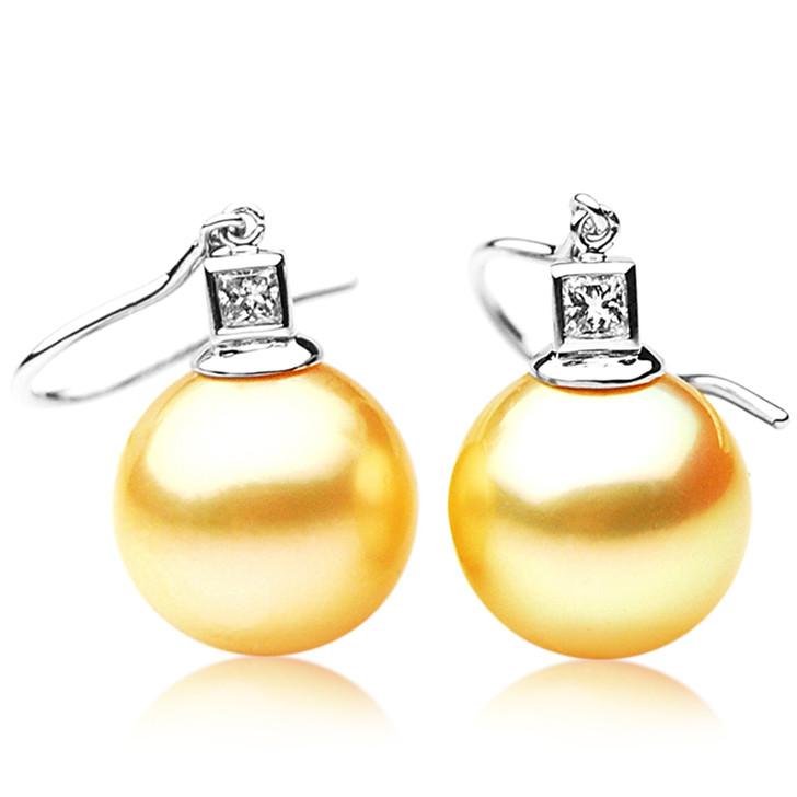 GE087 (AAA 13mm Australian Golden South Sea Pearl Earrings and Diamond)