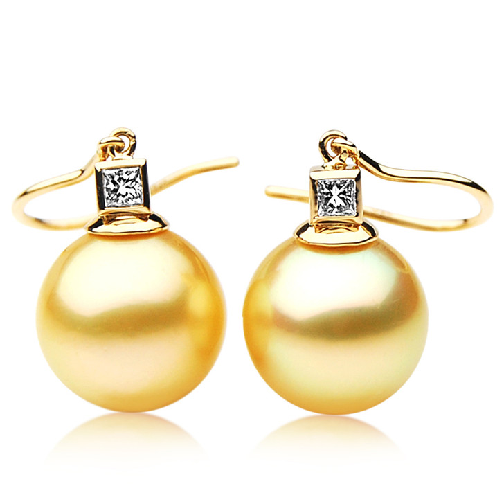 GE088 (AAA 13mm Australian Golden South Sea Pearl Earrings and Diamond)