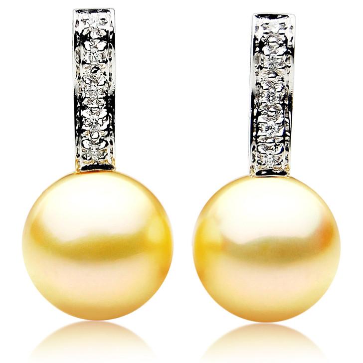 GE089 (AAA 13mm Australian Golden South Sea Pearl Earrings and Diamond)