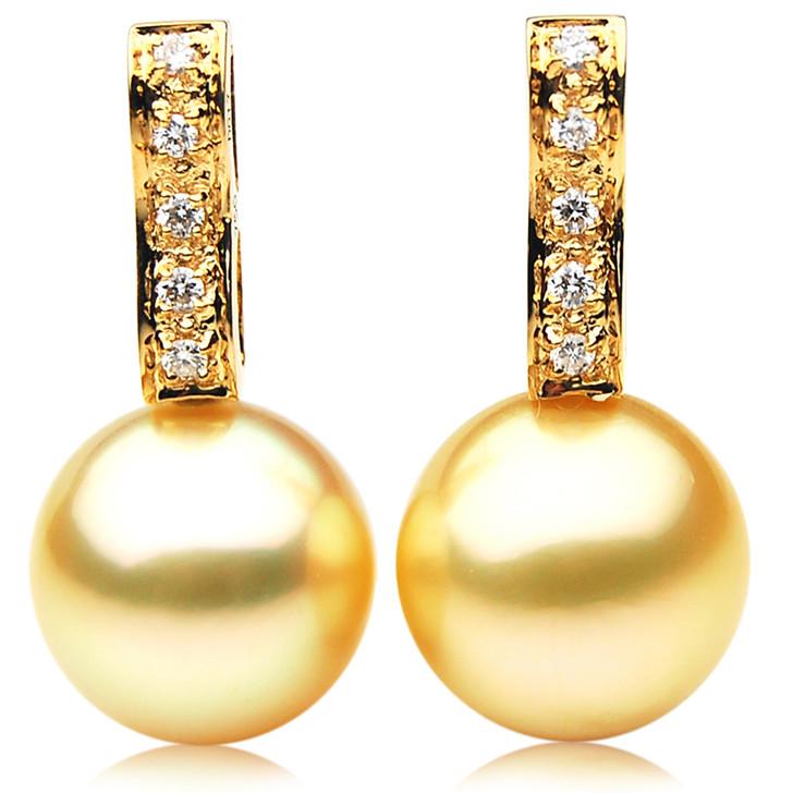 GE090 (AAA 13mm Australian Golden South Sea Pearl Earrings and Diamond)