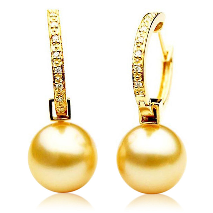 GE092 (AAA 13mm Australian Golden South Sea Pearl Earrings and Diamond )