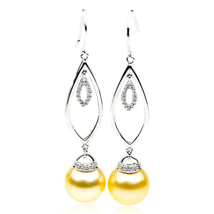 GE093 (AAA 13mm Australian Golden South Sea Pearl Earrings and Diamond )