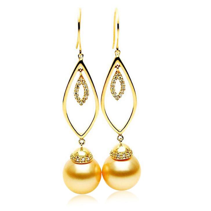 GE094 (AAA 13mm Australian Golden South Sea Pearl Earrings and Diamond )