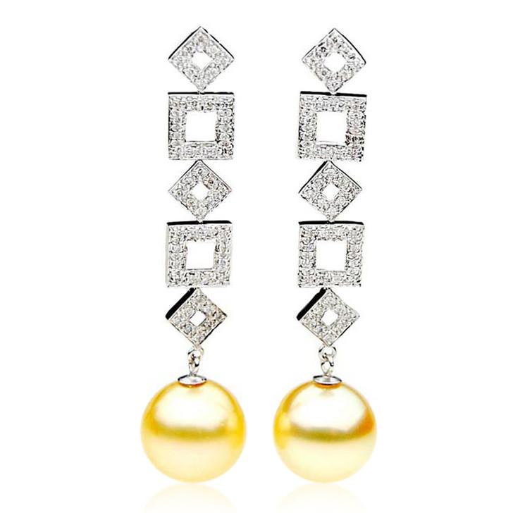 GE095 (AAA 13mm Australian Golden South Sea Pearl Earrings and Diamond )