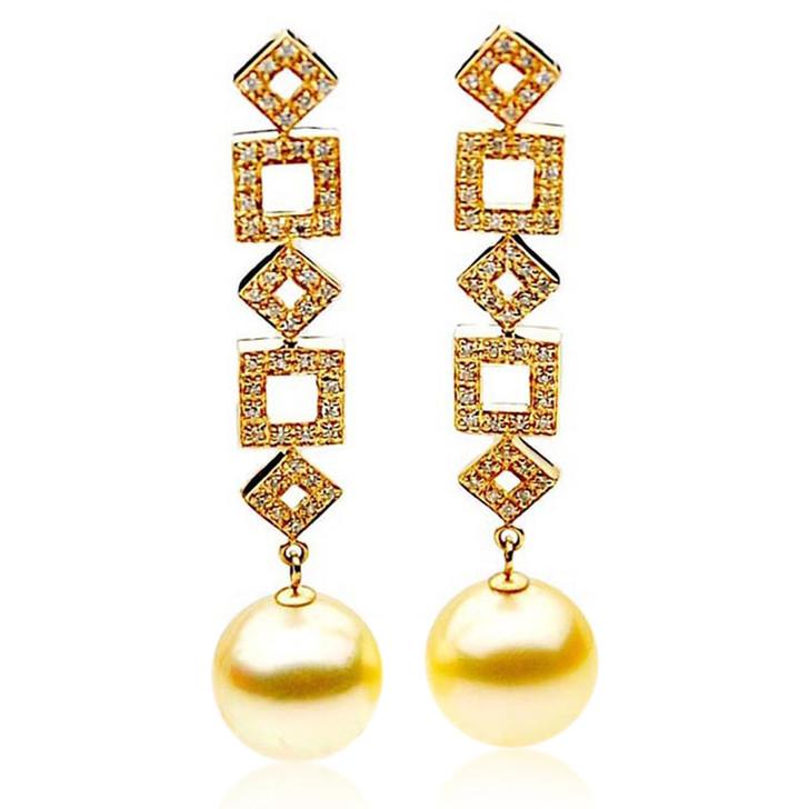GE096 (AAA 13mm Australian Golden South Sea Pearl Earrings and Diamond )