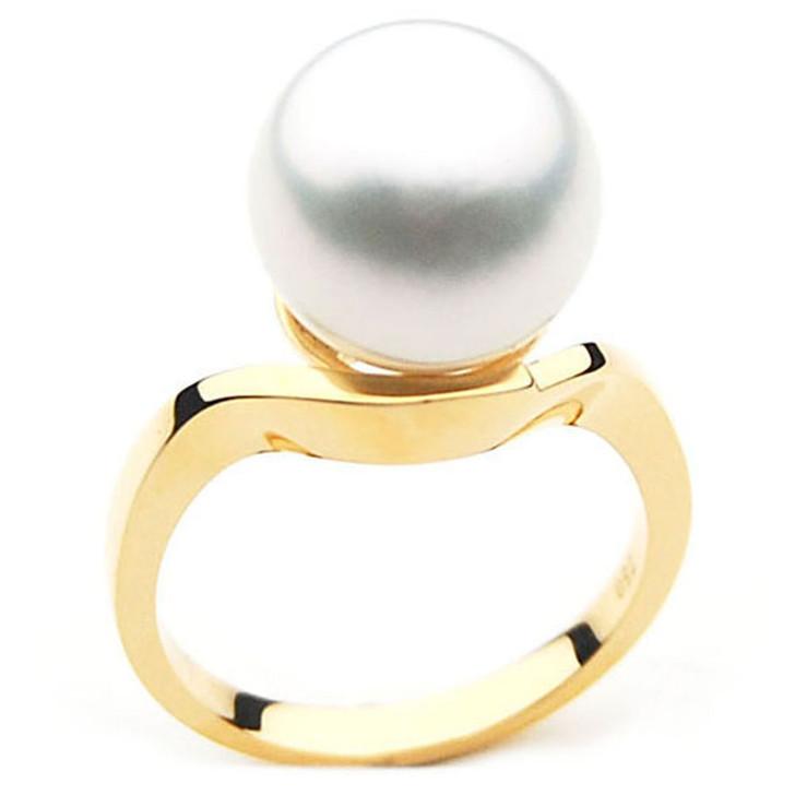 SR004 (AAA 11mm Australian south sea White pearl Ring in 18k gold)