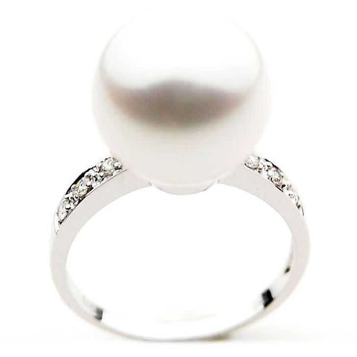 SR005 (AAA 11mm Australian south sea White pearl Diamond Ring 18k white gold)