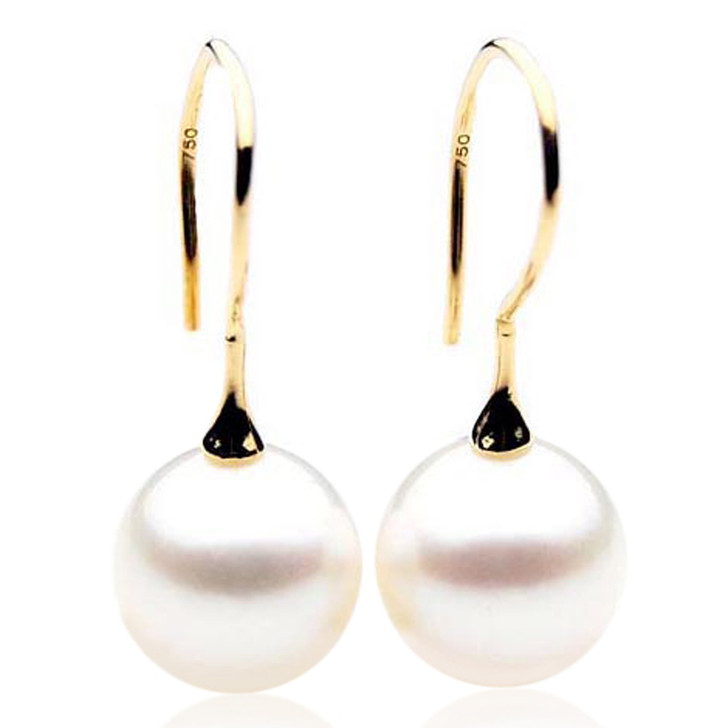 SE044  (AAA 12mm Australian South Sea Pearl Earrings in 18k Gold)
