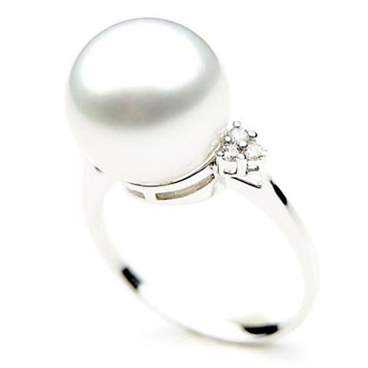 SR011 (AAA 11mm Australian south sea White pearl Diamond Ring 18k white gold)