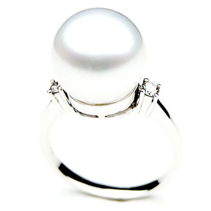 SR013 (AAA 11mm Australian south sea White pearl Diamond Ring 18k white gold)