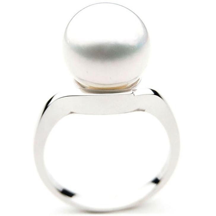 SR017 (AAA 12mm Australian south sea White pearl Ring in 18k white gold)