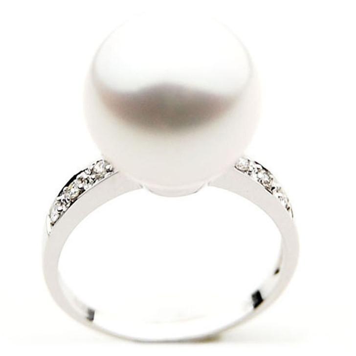 SR019 (AAA 12mm Australian south sea White pearl Diamond Ring 18k white gold)