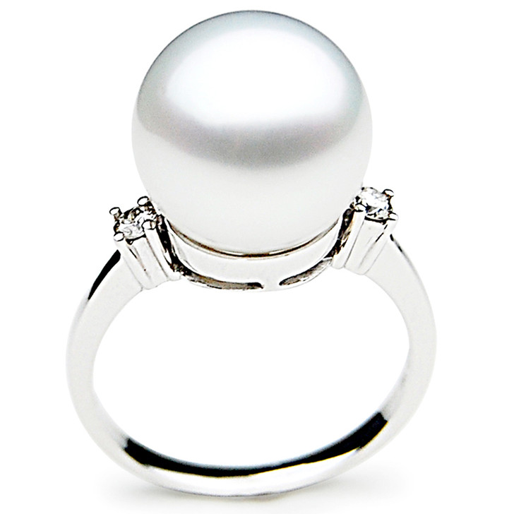 SR027 (AAA 12mm Australian south sea White pearl Diamond Ring 18k white gold)
