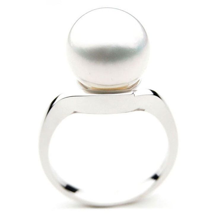 SR031 (AAA 13mm Australian south sea White pearl Ring in 18k white gold)