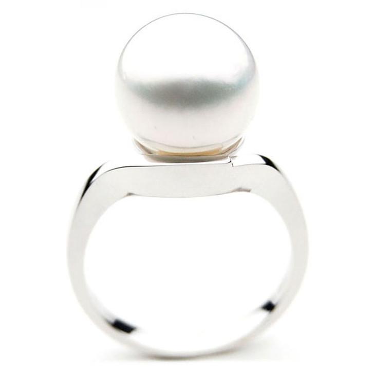 SR031 (AAA 13mm Australian south sea White pearl Ring in 18k white gold)