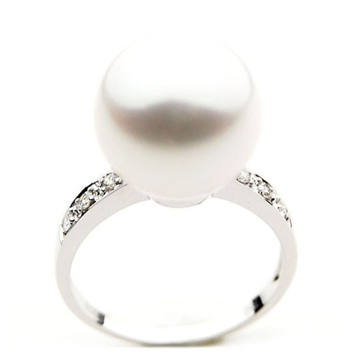 SR033 (AAA 13mm Australian south sea White pearl Diamond Ring 18k white gold)
