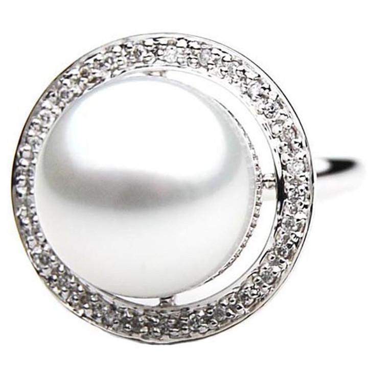 SR043 (AAA 13mm Australian south sea White pearl Diamond Ring 18k white gold)