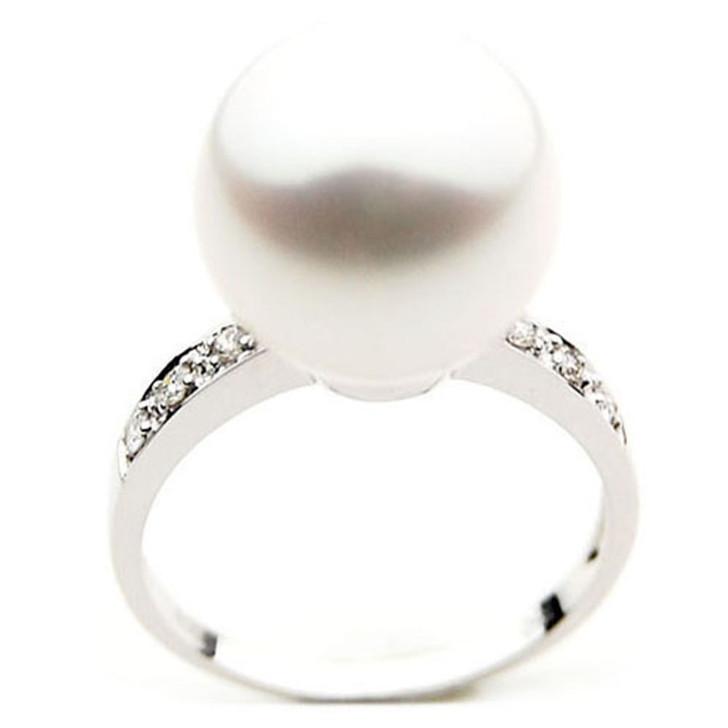 SR050 (AAA 14mm Australian south sea White pearl Diamond Ring 18k white gold)