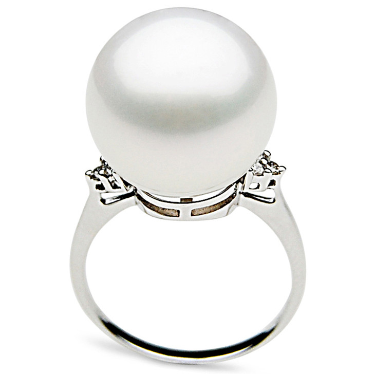 SR056 (AAA 14mm Australian south sea White pearl Diamond Ring 18k white gold)