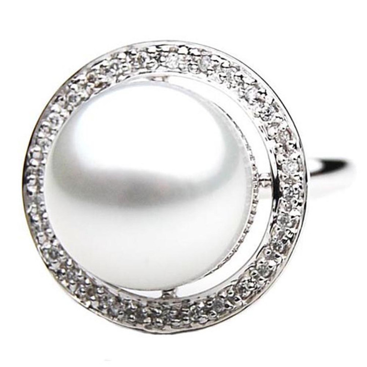 SR060 (AAA 14mm Australian south sea White pearl Diamond Ring 18k white gold)