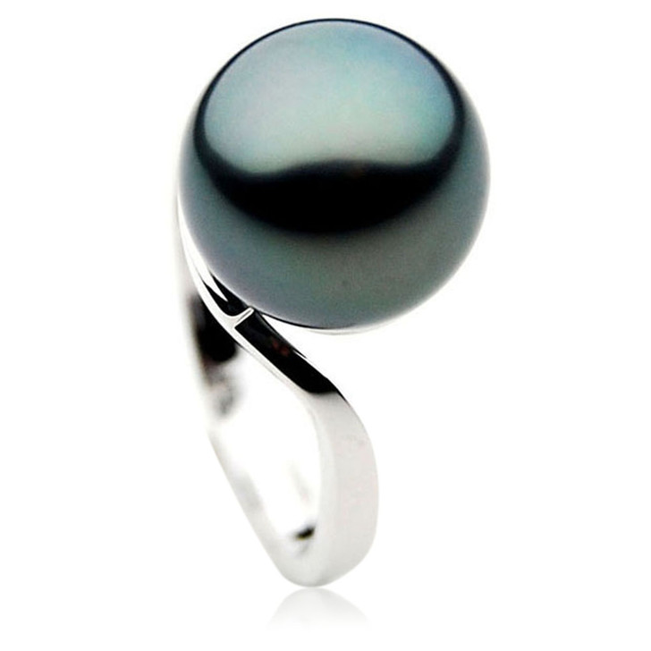 TR003 ( AAA 11mm  Tahitian Black pearl Ring in 18k White Gold )