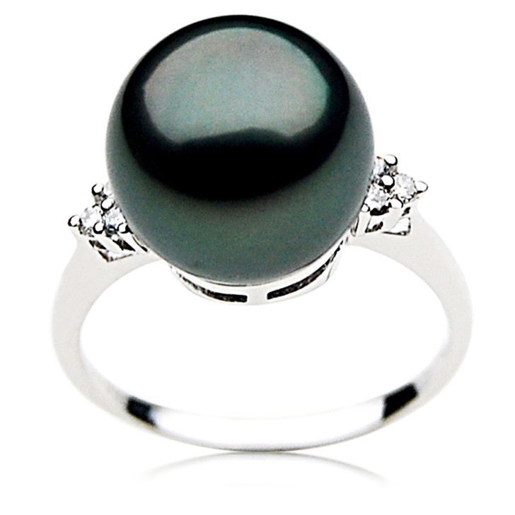 TR011 (AAA 11mm  Tahitian Black pearl diamond ring 18k White Gold)