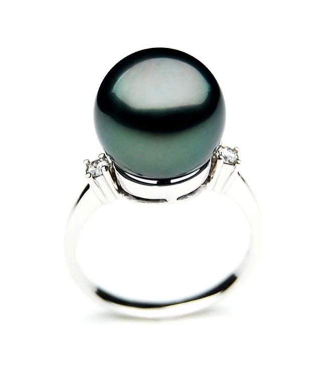 TR013 (AAA 11mm  Tahitian Black pearl diamond ring 18k White Gold)