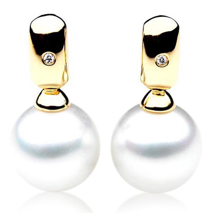 SE052   (AAA 12mm Australian South Sea Pearl Earrings Diamonds in 18k Gold)