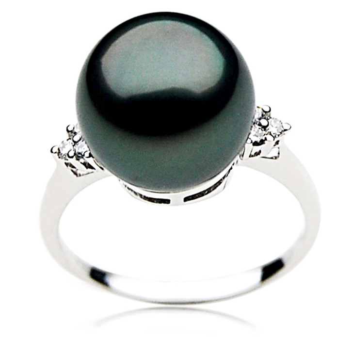 TR025 (AAA 12mm  Tahitian Black pearl diamond ring 18k White Gold)