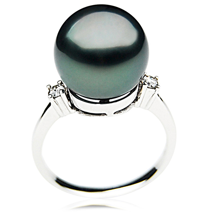 TR027 (AAA 12mm  Tahitian Black pearl diamond ring 18k White Gold)