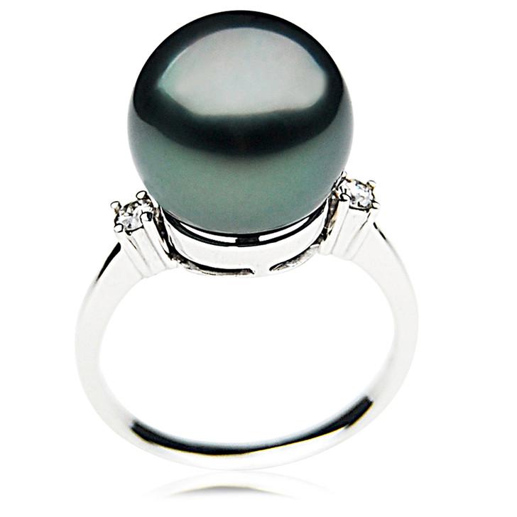 TR027 (AAA 12mm  Tahitian Black pearl diamond ring 18k White Gold)