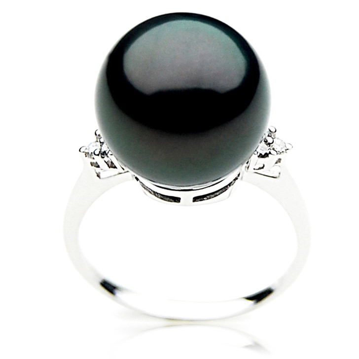 TR039 (AAA 13mm  Tahitian Black pearl diamond Ring 18k White Gold)