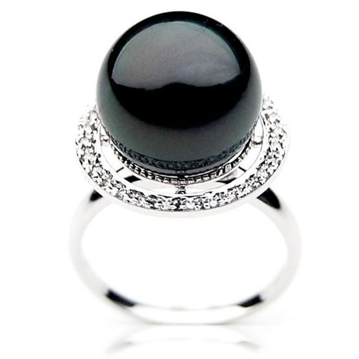 TR043 (AAA 13mm  Tahitian Black pearl diamond ring 18k White Gold)