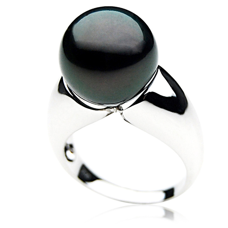 TR044 (AAA 13mm  Tahitian Black pearl ring 18k White Gold)