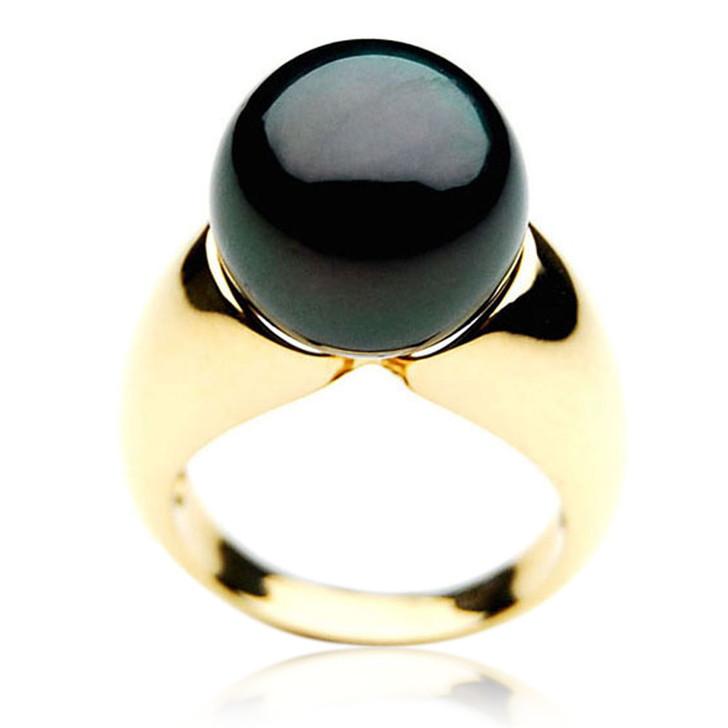TR045 (AAA 13mm  Tahitian Black pearl ring in 18k Gold)