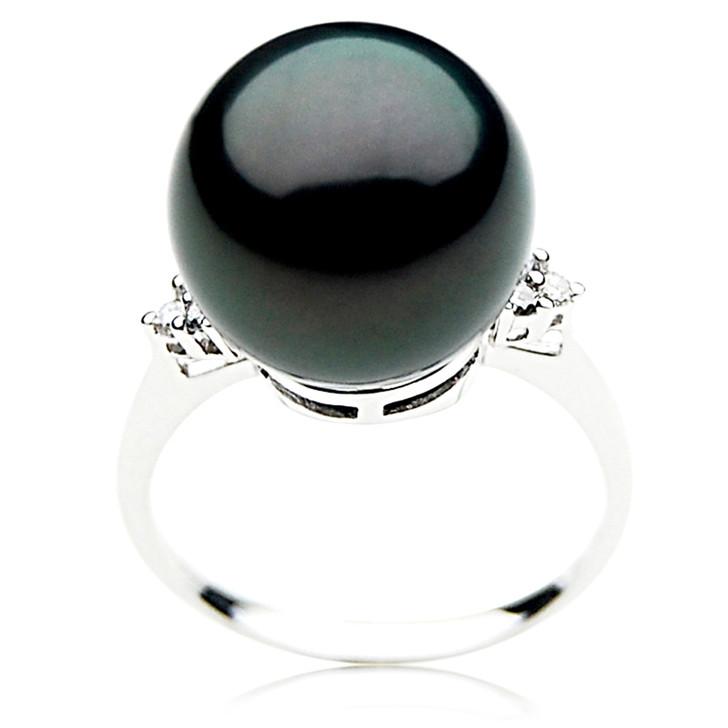 TR056 (AAA 14mm  Tahitian Black pearl  Diamond ring 18k White Gold)