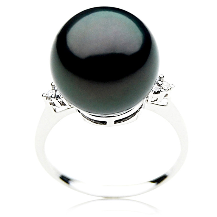 TR056 (AAA 14mm  Tahitian Black pearl  Diamond ring 18k White Gold)