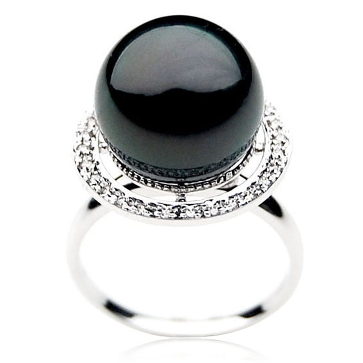 TR060 (AAA 14mm  Tahitian Black pearl Diamond ring 18k White Gold)
