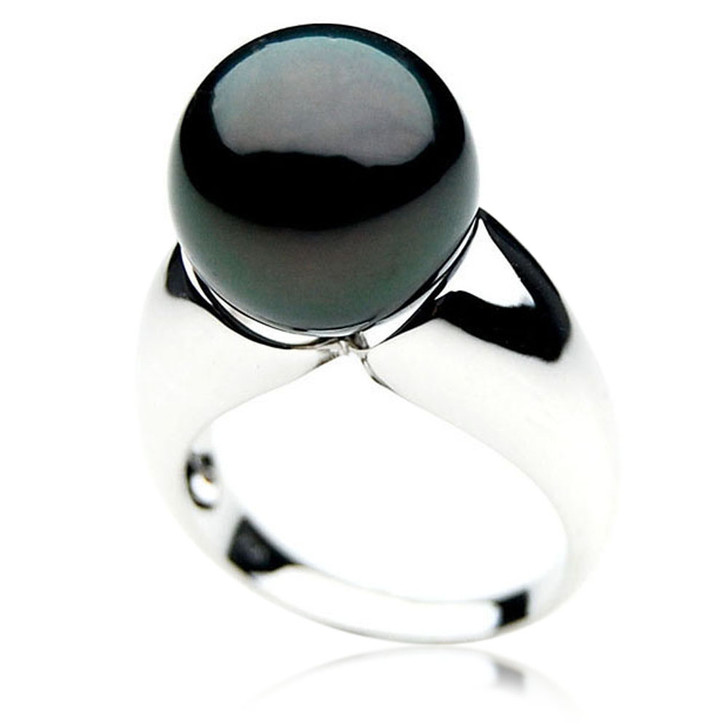 TR061 (AAA 14mm  Tahitian Black Pearl Ring In 18k White Gold)