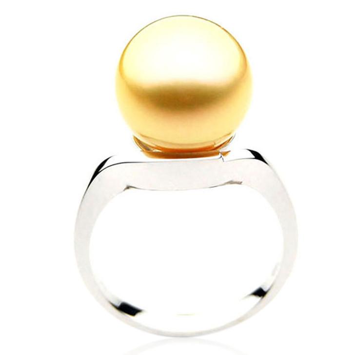 GR003 (AAA 11mm Australian Golden  South Sea Pearl Ring In 18k White Gold)