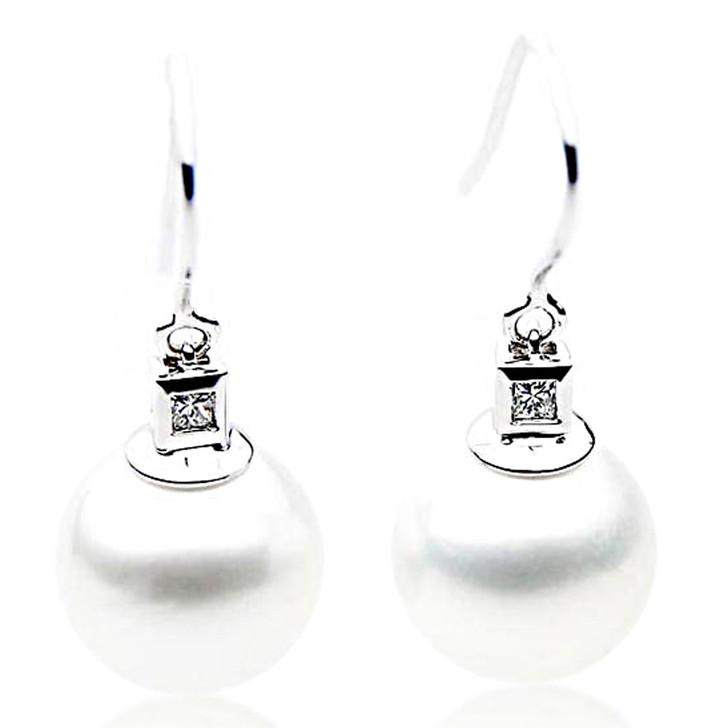SE057   (AAA 12mm Australian South Sea Pearl Earrings Diamonds 18k White Gold)