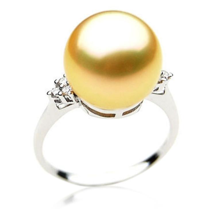 GR011 (AAA 11mm Australian Golden  South Sea Pearl Diamond Ring Gold)