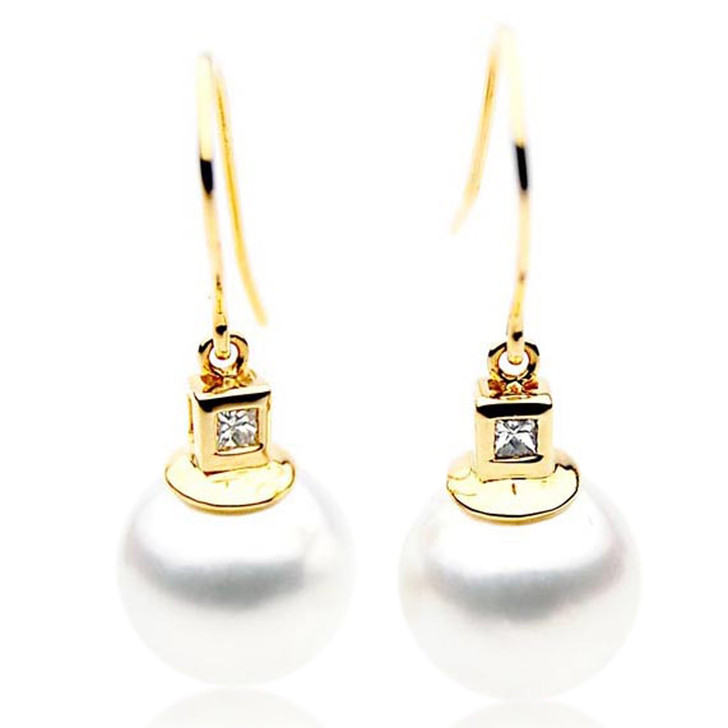 SE058  (AAA 12mm Australian South Sea Pearl Earrings Diamonds 18k Gold)