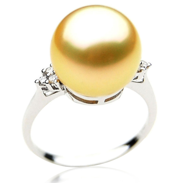 GR025 (AAA 12mm Australian Golden  South Sea Pearl Diamond Ring Gold)